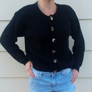 Vintage Segue Black Cardigan with Fuzzy Buttons